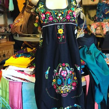 Mexican Traditional Embroidered Halter Dress Black