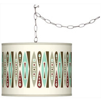 Swag Style Retro Giclee Shade Plug-In Chandelier