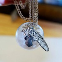 Make a Wish - White Feathers Glass Globe Long Silver Necklace