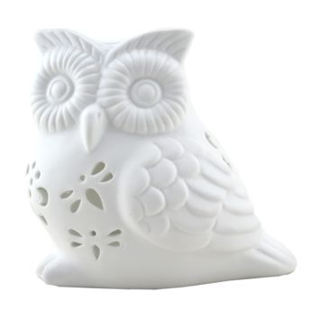 Translucent Porcelain Owl Candle Holder Statue