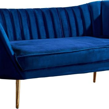 Margo Navy Velvet Loveseat with Gold Legs