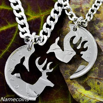 Buck and Doe Canadian Quarter, Necklace Set, Woodland Jewelry, Cut Coin Jewelry by NameCoins