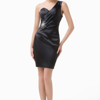 One Shoulder Ruched Beaded Bodycon Mini Dress