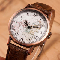 Vintage Style World Map Casual Sports Leather Watch + Gift Box