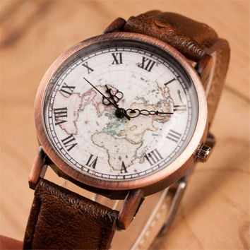 Women Vintage Style World Map Casual Sports Leather Watch Best Gift 417