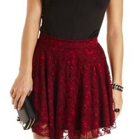 Lace Skater Skirt by Charlotte Russe - Wine