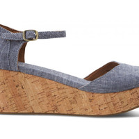 TOMS Wedge Platform Chambray
