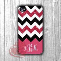 Personalized Phone Case Deep Pink w Glitter Chevron -end for iPhone 6S case, iPhone 5s case, iPhone 6 case, iPhone 4S, Samsung S6 Edge