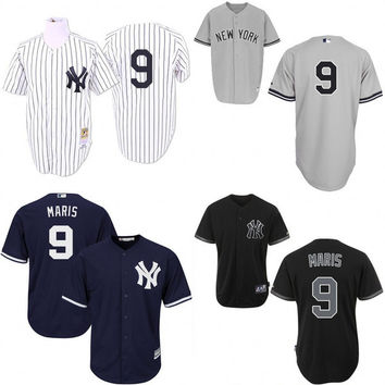 Black White 1961 Throwback Roger Maris Replica Jersey , Men's #9 Mitchell And Ness New York Yankees