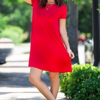 The Perfect Piko Short Sleeve Swing Dress-Red – Simply Dixie Boutique