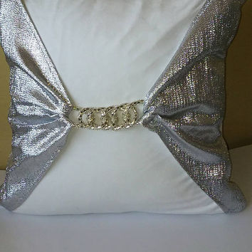 Metallic Silver Chain Linked Buckle Luxury Pillow Cover