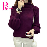Knitted Sweaters Women  Autumn Turtleneck Lantern Long Sleeve Pullover Korean Fashion Clothing Thick Casual Knitwear Sweater