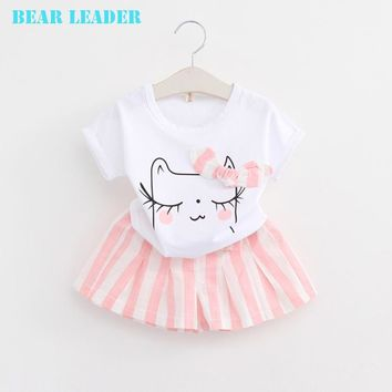 Bear Leader Girls Clothes Summer 2016 Brand Girls Clothing Sets Kids Clothes Cartoon Children Clothing Toddler Girl Tops+Shorts