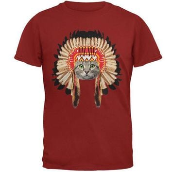 CREYCY8 Thanksgiving Funny Cat Native American Adult T-Shirt