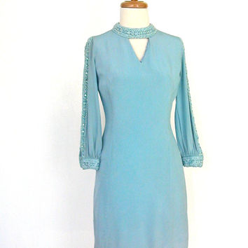1960s Shift Dress / 60s dress / blue party dress / cocktail dress / sheath / bridal / cocktail dress /  new years  /  Small / Medium