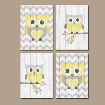 Yellow Gray OWL Wall Art, Owl Nursery Decor, CANVAS or Print, Wood Effect, Baby Girl Crib, Yellow Gray, Bedroom Pictures, Set of 4 Pictures