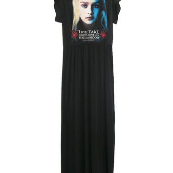 Fire And Blood Khaleesi Game Of Thrones Long Maxi Dress Gown