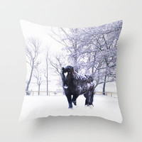 Horse  Throw Pillow by Tanja Riedel