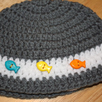 Crochet Baby Beanie Hat - Gray and White with Fish Buttons size 3 - 6 month - FREE SHIPPING - Ready to Ship