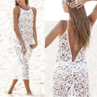 Summer Fashion Women Sexy Dress Boho Casual Bodycon Dresses White Sexy Lace Beach Maxi Dress -0407