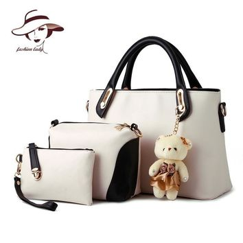 2017  women bag composite bag buy one get three 3 bags a set candy color women handbag+clutch+shoulder bag famous brand designer
