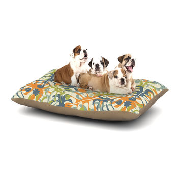 "Julia Grifol ""Summer Tropical Leaves"" Green Orange Dog Bed"