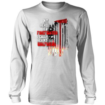 Men's Thin Red Line American Flag Firefighter Girlfriend Long Sleeve T-shirt