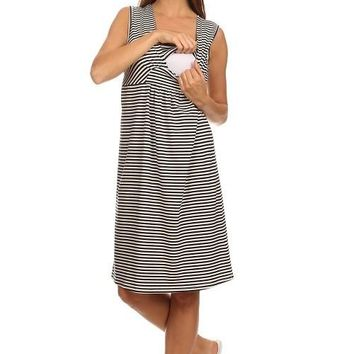 Lilly Nautical Stripe Sleeveless Maternity Dress
