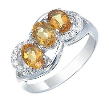 1 carats Sterling Silver Citrine 3 Stone Ring (1 CT)