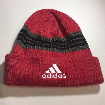 ESBONC. BRAND NEW ADIDAS RED BLACK/GRAY STRIPED KNIT HAT SHIPPING