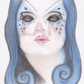 SALE - Blue Butterfly Girl - Coloured pencil drawing - digital download