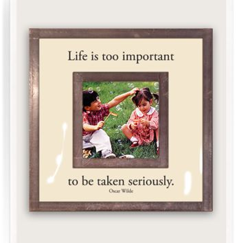 "Life Is Too Important 3""x 3"" Copper & Glass Photo Frame"
