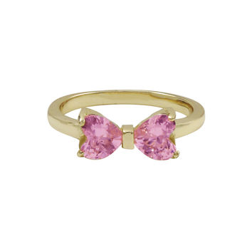 Pink Heart Shape CZ, Gold Plated Sterling Silver Bow Ring
