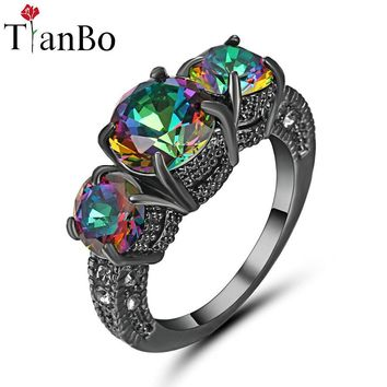 TianBo Silver & Black & Gold Colour Band Ring 3 Stones Forever Brilliant Round Cut Purple/Rainbow Engagement Wedding Ring Size 8