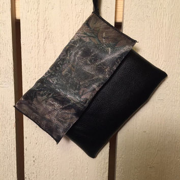 True timber camo and black fashion faux suede clutch, wristlets, purse, womens accessory, camoflauge