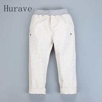 Hurave 2017 Spring New Arrived Children Pants Casual Cotton Linen Solid Kids Trousers Baby Costume Boy Clothes
