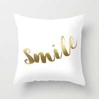 Smile - GOLD INK Throw Pillow by Cooledition