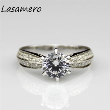 10K White Gold Certified Round 1 CT Colorless D Moissanite Ring Star Accents Lab Grown Diamond