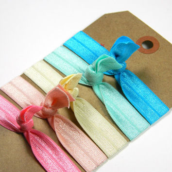 Elastic Hair Ties - Ice Cream Pastels - Flamingo Pink, Peach, Light Yellow, Aqua, Turquoise Set by All Things in Color