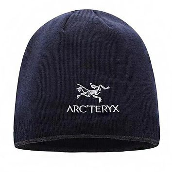 """Arcteryx"" Autumn Winter Popular Women Men Embroidery Knit Hat Cap Dark Blue"