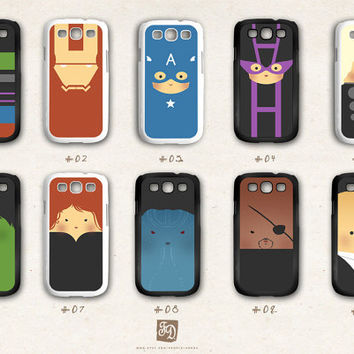 Samsung Galaxy S3 case the cute Avengers /choose one/ the Hulk , Hawkeye , Captain America , Iron Man , Thor