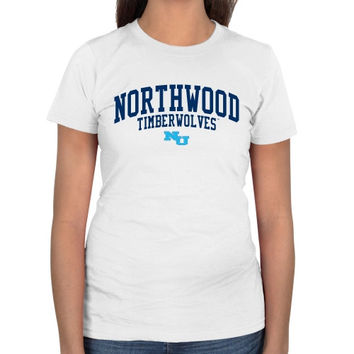 Northwood University of Michigan Timberwolves Ladies Team Arch Slim Fit T-Shirt - White