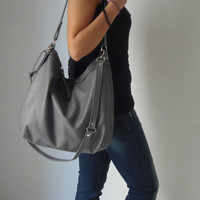 Leather hobo bag - Grey leather bag - Leather shoulder bag - LARGE