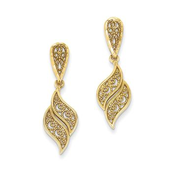 Diamond Cut Filigree Swirl Dangle Post Earrings in 14k Yellow Gold