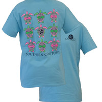 Southern Couture Preppy Sea Turtles Pattern Bow Girlie Bright T Shirt