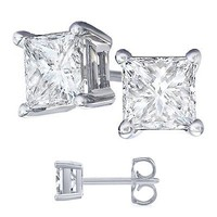 Men's 4.00 Carat Total Weight Cubic Zirconia Stud Earrings 2.00 Carat Each Large Size 925 Sterling Silver
