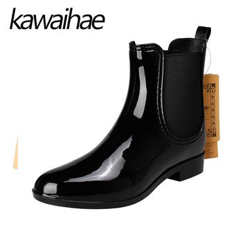 Pointed Toe Women Boots Rain Shoes Female Waterproof Rainboots Rubber Shoes Kawaihae Brand Martins 609