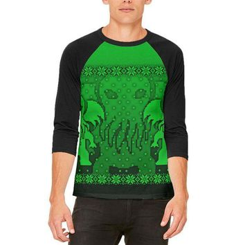 PEAPGQ9 Ugly Christmas Sweater Big Cthulhu Greater Gods Mens Raglan T Shirt