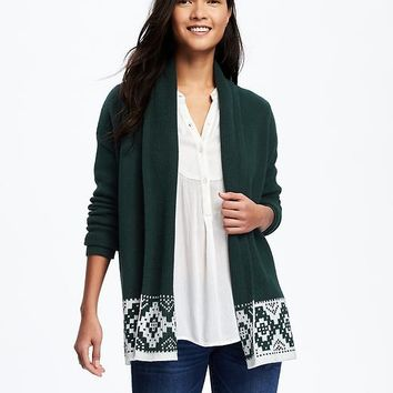 Patterned Shawl-Collar Open-Front Cardi for Women | Old Navy