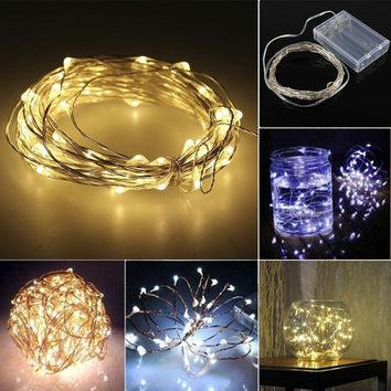 5/10m 50/100 LEDs AA Battery Operated LED Copper Wire String Fairy Lights Party